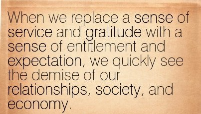 Feelings of entitlement